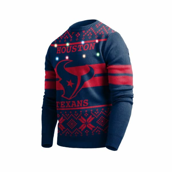 Houston Texans 2 Stripe Light Up NFL Ugly Holiday Sweater