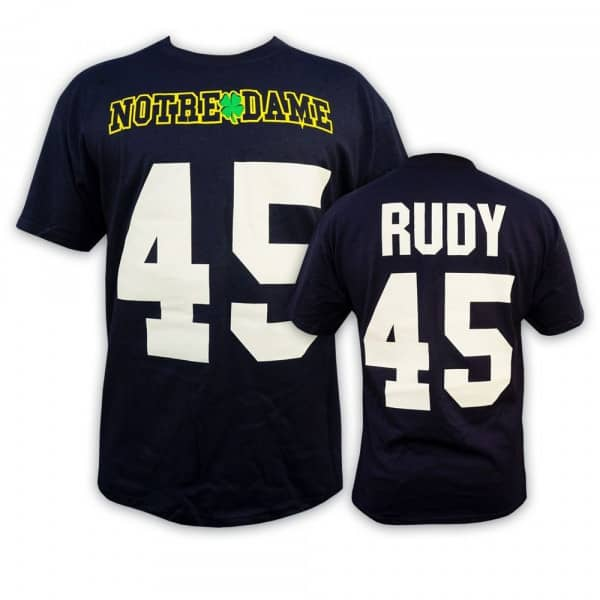 Notre Dame Daniel 'Rudy' Ruettiger #45 College Football T-Shirt Navy