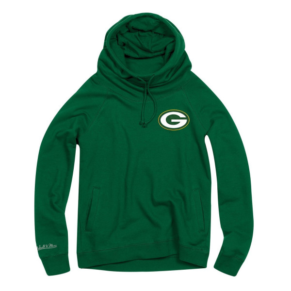 Green Bay Packers Funnel Neck Pullover NFL Hoodie (DAMEN)