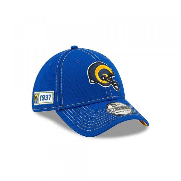 Los Angeles Rams Helmet 2019 NFL On-Field Sideline 39THIRTY Stretch Cap Road