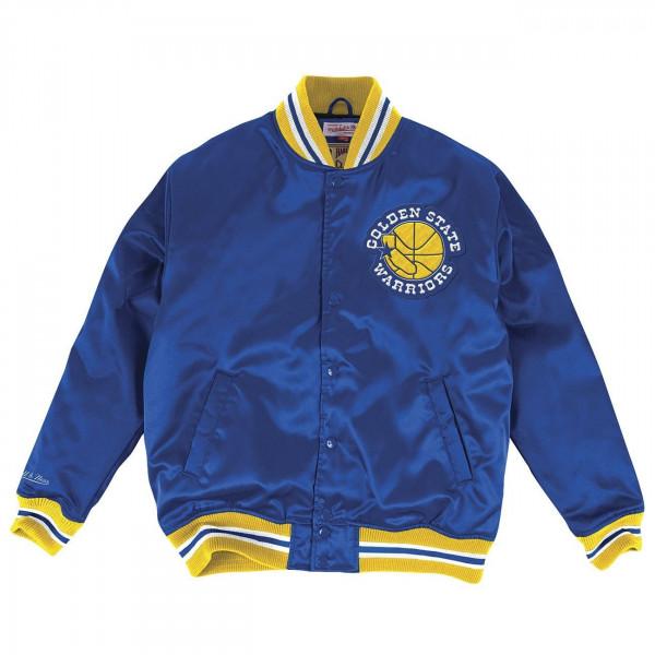 timeless design 4c475 3c3b9 Mitchell   Ness Golden State Warriors HWC Satin NBA Jacke Blue   TAASS.com  Fan Shop