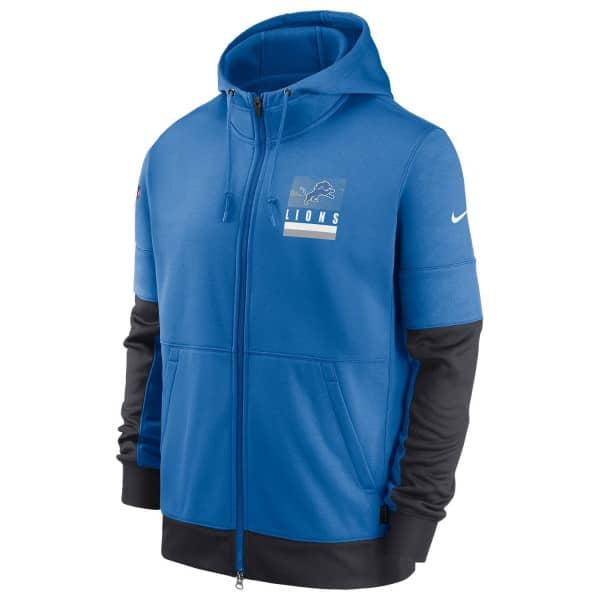 Detroit Lions 2020 NFL Sideline Lockup Nike Therma Full-Zip Hoodie