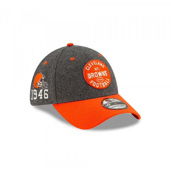 Cleveland Browns 2019 NFL On-Field Sideline 39THIRTY Stretch Cap Home