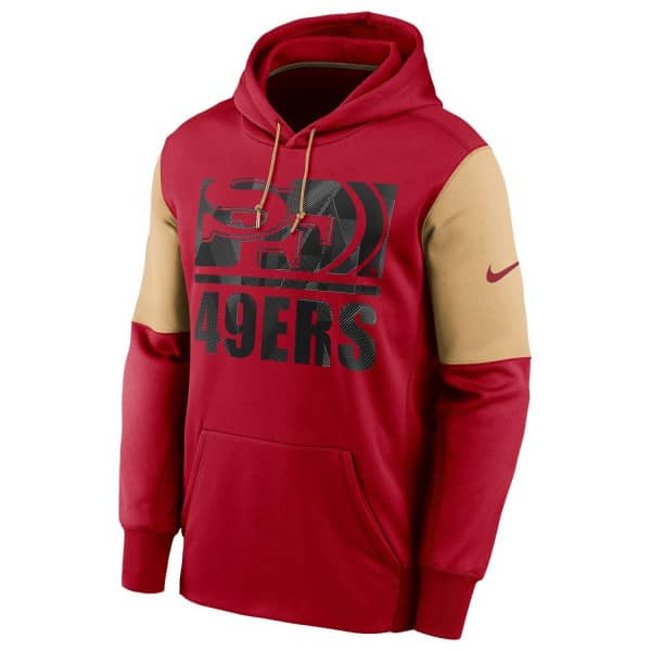 San Francisco 49ers Mascot Stack Nike Therma Pullover Hoodie Rot