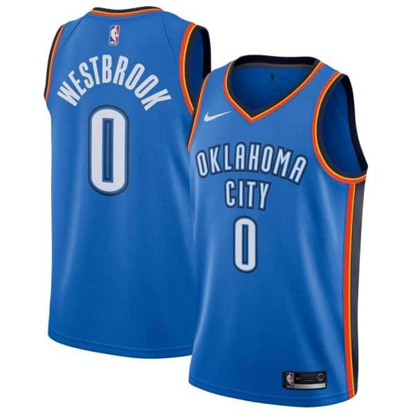 Russell Westbrook #0 Oklahoma City Thunder Icon Swingman NBA Trikot Blau