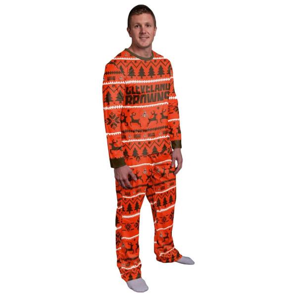 Cleveland Browns Holiday Wordmark NFL Schlafanzug Set (2-Teilig)