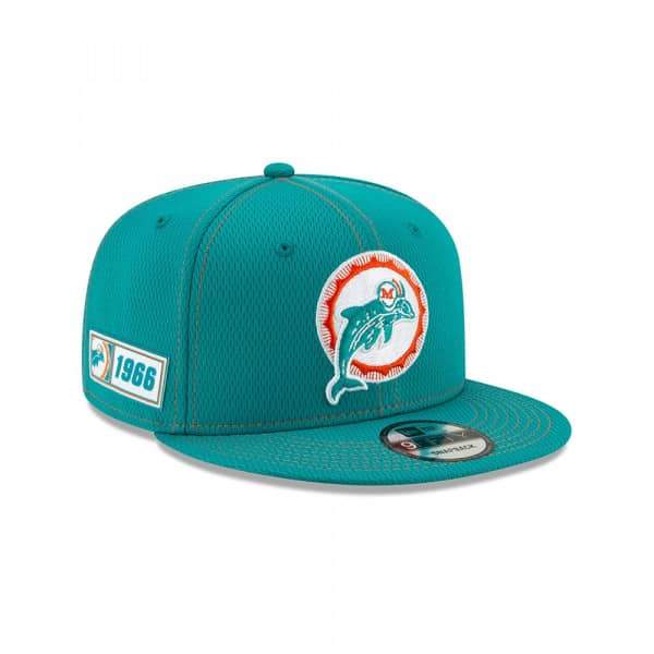 Miami Dolphins Throwback 2019 NFL On-Field Sideline 9FIFTY Snapback Cap Road