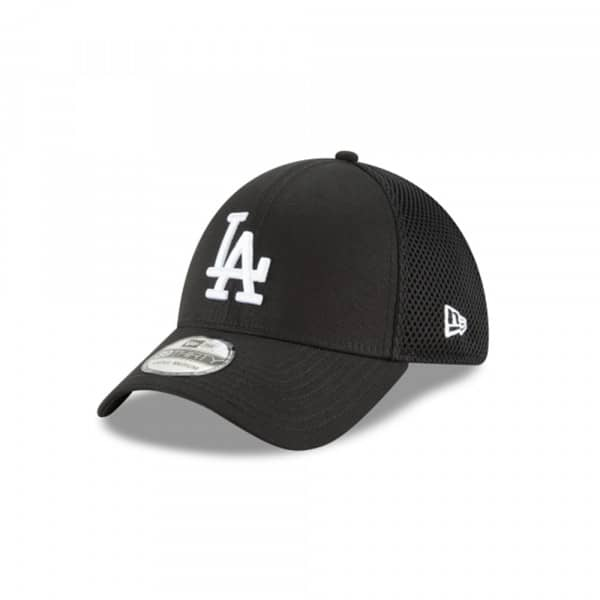 Los Angeles Dodgers Black & White Neo 39Thirty Stretch Fit MLB Cap