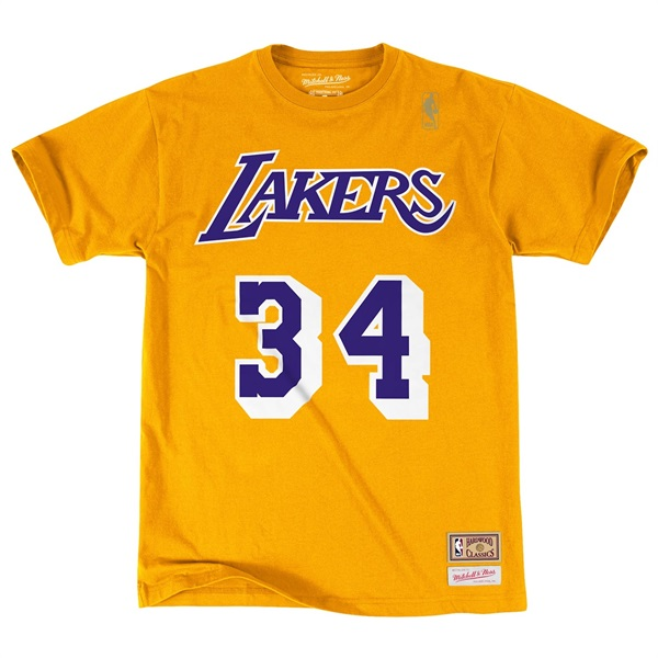 buy popular 6bc40 a8662 Shaq O Neal  34 Los Angeles Lakers Name   Number NBA Tee Yellow