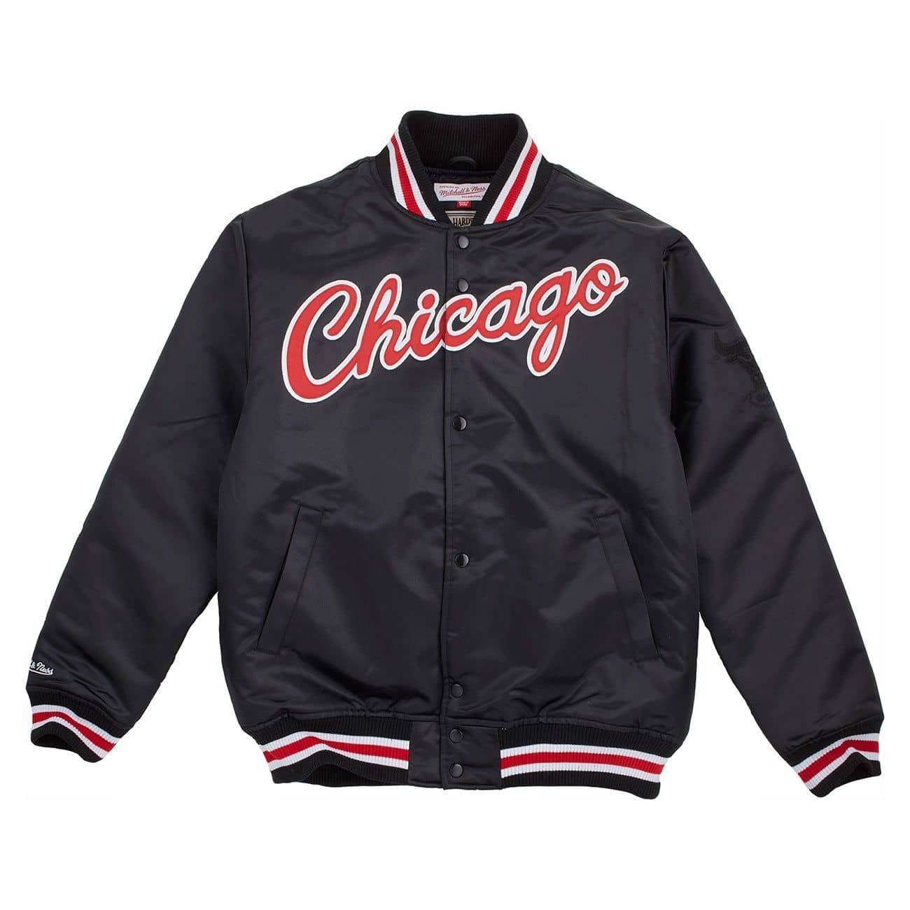 mitchell ness chicago bulls wordmark satin nba jacke. Black Bedroom Furniture Sets. Home Design Ideas