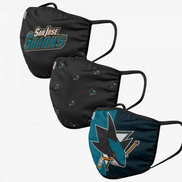 San Jose Sharks NHL Face Mask Mundschutz MNS (3er-Pack)