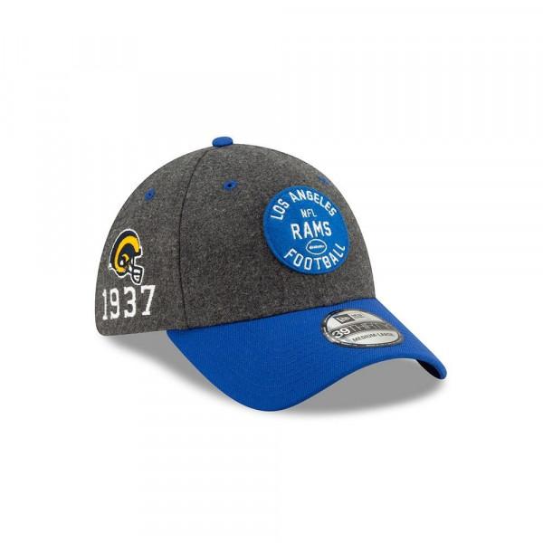 Los Angeles Rams Helmet 2019 NFL On-Field Sideline 39THIRTY Stretch Cap Home