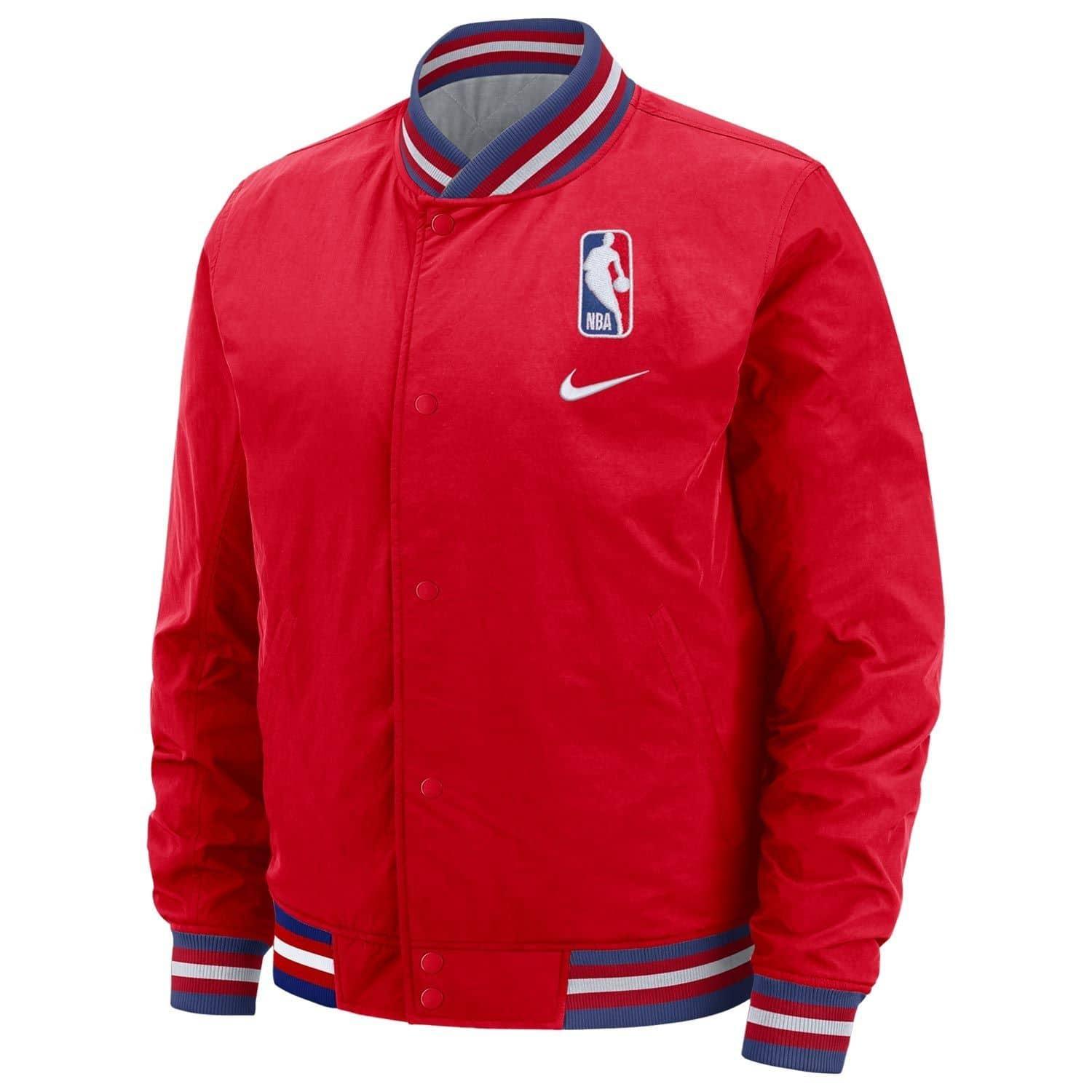 NBA Logo College Style Basketball Jacke Rot
