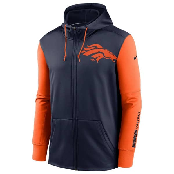 Denver Broncos 2020 NFL Big Logo Nike Therma Full-Zip Hoodie