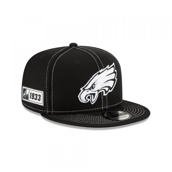 Philadelphia Eagles 2019 NFL Sideline Black 9FIFTY Snapback Cap Road