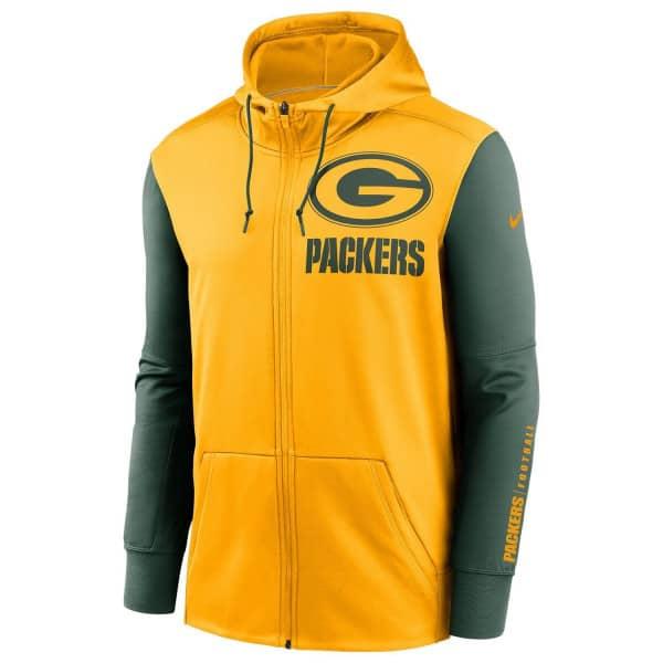 Green Bay Packers 2020 NFL Big Logo Nike Therma Full-Zip Hoodie