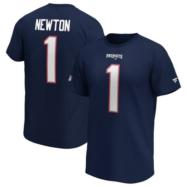 Cam Newton #1 New England Patriots Fanatics Player NFL T-Shirt Navy