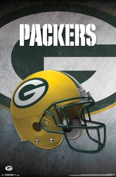 Green Bay Packers Helmet Football NFL Poster