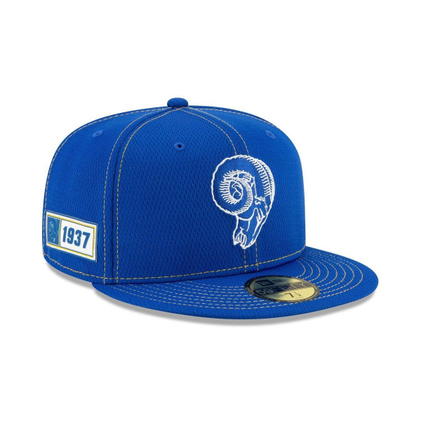 Los Angeles Rams Throwback 2019 NFL On-Field Sideline 59FIFTY Fitted Cap Road