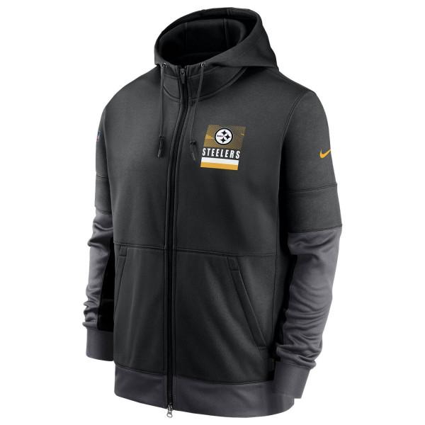 Pittsburgh Steelers 2020 NFL Sideline Lockup Nike Therma Full-Zip Hoodie