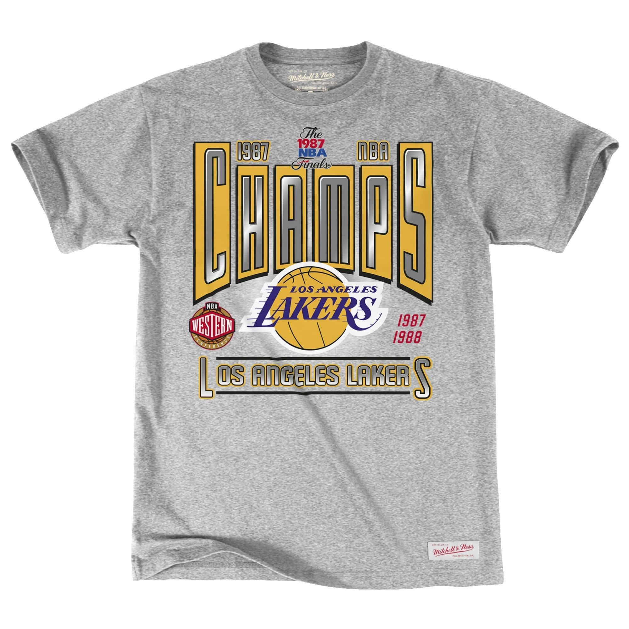 more photos f9b7e 2fecd Mitchell   Ness Los Angeles Lakers 1987 Winner Takes All NBA T-Shirt Grey    TAASS.com Fan Shop
