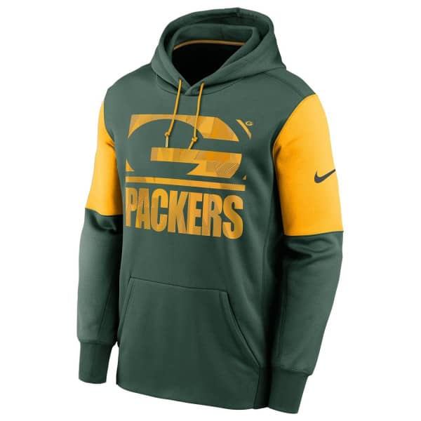 Green Bay Packers Mascot Stack Nike Therma Pullover Hoodie Grün