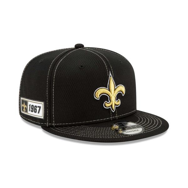 New Orleans Saints 2019 NFL On-Field Sideline 9FIFTY Snapback Cap Road