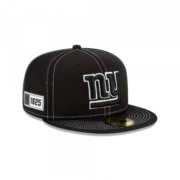 New York Giants 2019 NFL Sideline Black 59FIFTY Fitted Cap Road