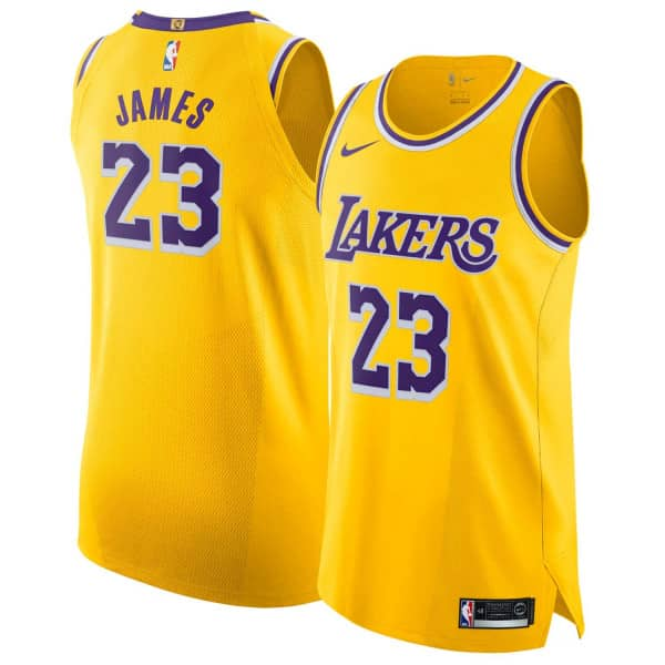 LeBron James #23 Los Angeles Lakers Icon Authentic NBA Trikot Gelb