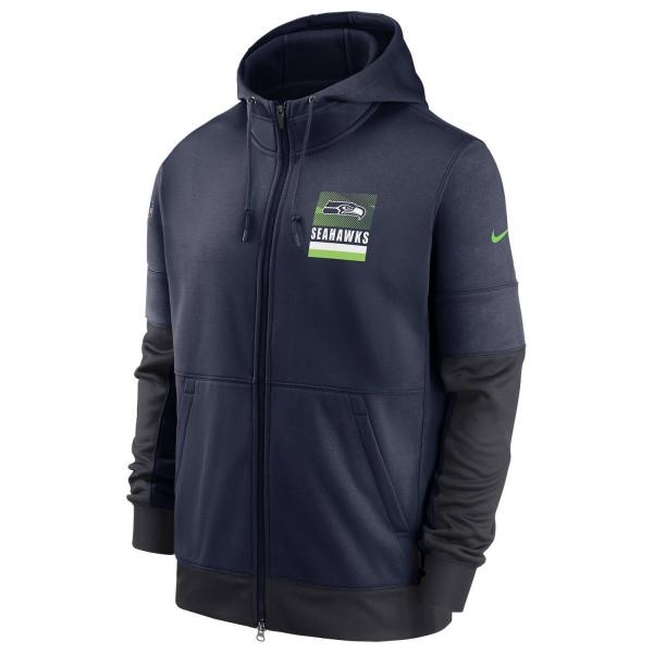 Seattle Seahawks 2020 NFL Sideline Lockup Nike Therma Full-Zip Hoodie