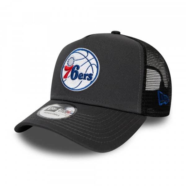 Philadelphia 76ers Dark Base New Era Adjustable Trucker NBA Cap