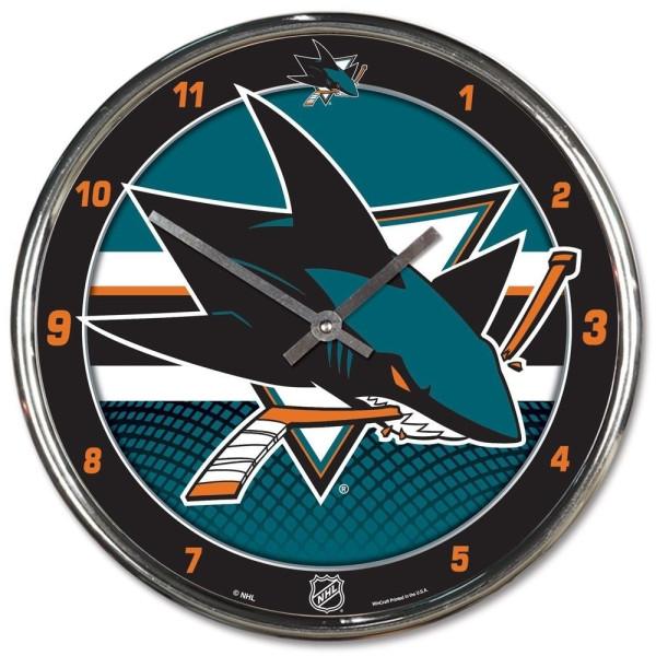 San Jose Sharks Chrome NHL Wanduhr