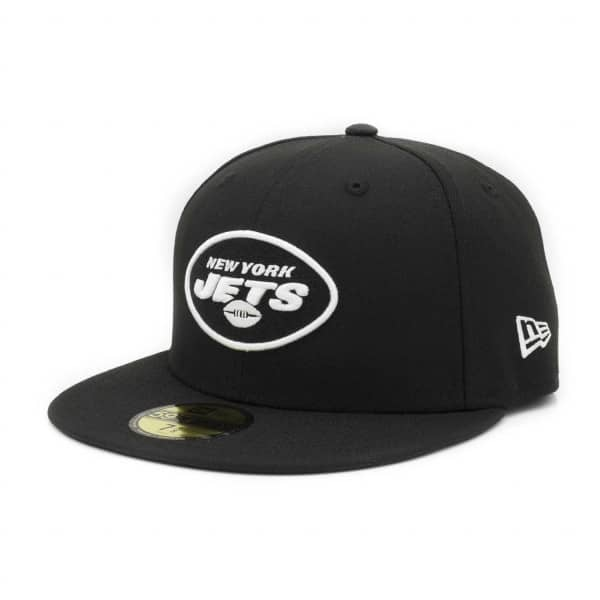 New York Jets Black & White 59FIFTY Fitted NFL Cap