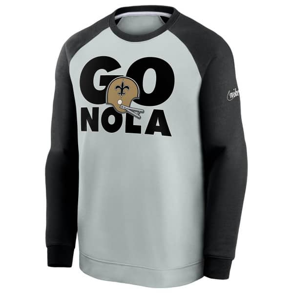 New Orleans Saints GO NOLA Nike Throwback NFL Crewneck Pullover