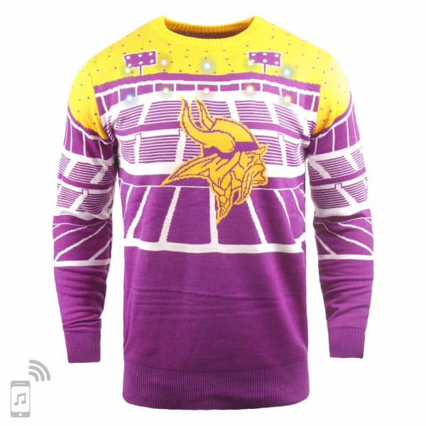 Minnesota Vikings Light Up Bluetooth NFL Ugly Holiday Sweater