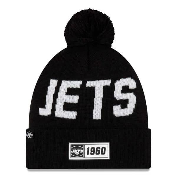 New York Jets Black 2019 NFL Sideline Sport Knit Wintermütze Road