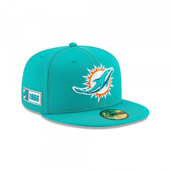 Miami Dolphins 2019 NFL On-Field Sideline 59FIFTY Fitted Cap Road