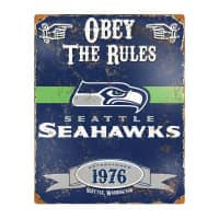 Seattle Seahawks Obey The Rules Embossed NFL Metallschild