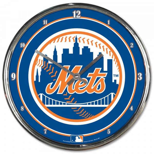 New York Mets Chrome MLB Wanduhr