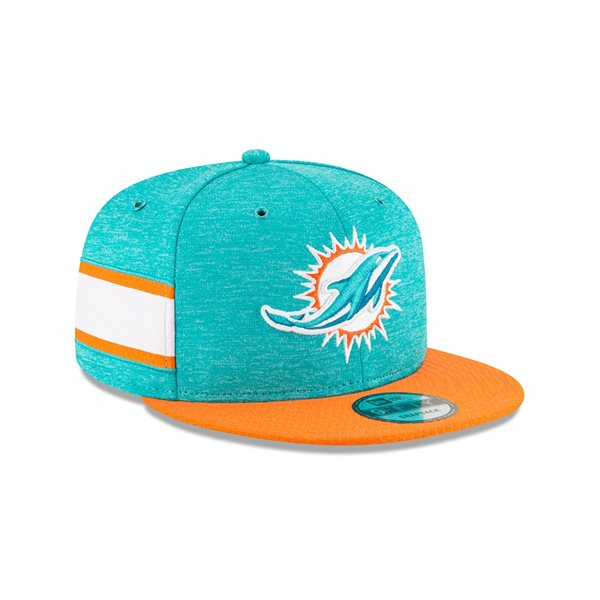 c69ba438e New Era Miami Dolphins 2018 NFL Sideline 9FIFTY Snapback Cap Home ...