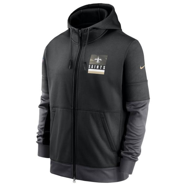 New Orleans Saints 2020 NFL Sideline Lockup Nike Therma Full-Zip Hoodie
