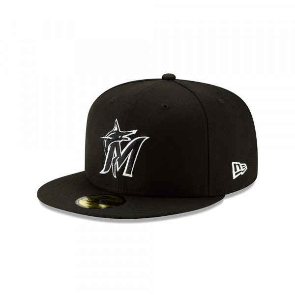 Miami Marlins Black & White 59FIFTY Fitted MLB Cap