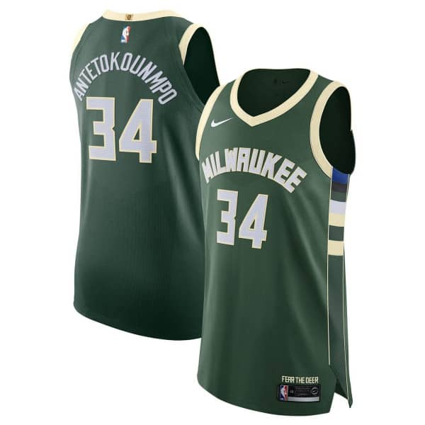 b993434283e Nike Giannis Antetokounmpo  34 Milwaukee Bucks Icon Authentic NBA Jersey  Green