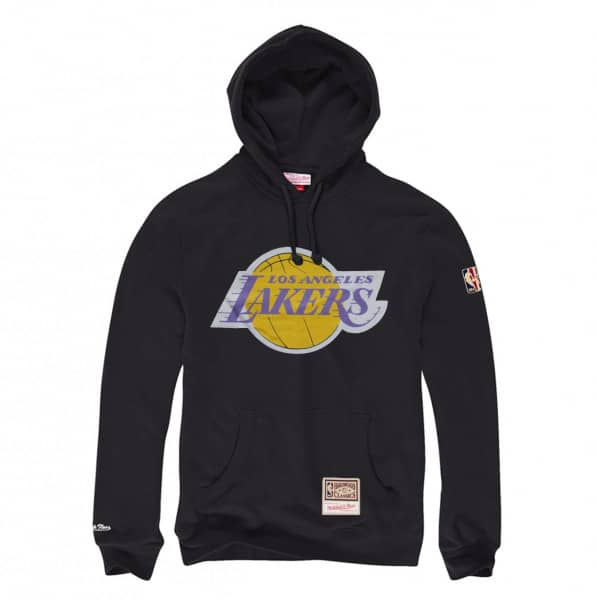 Los Angeles Lakers Worn Logo Mitchell & Ness NBA Hoodie Schwarz