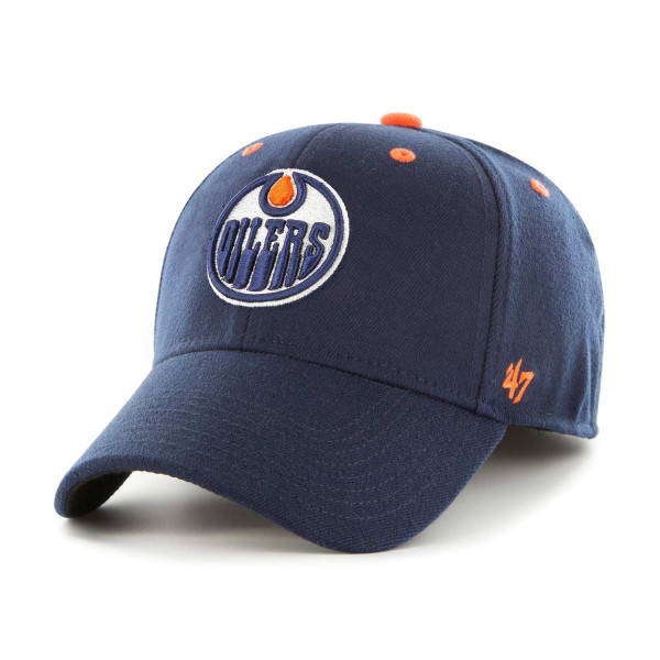 official photos 64e56 9ee0c  47 Brand Edmonton Oilers Kickoff Contender Stretch Fit NHL Cap Navy   TAASS .com Fan Shop