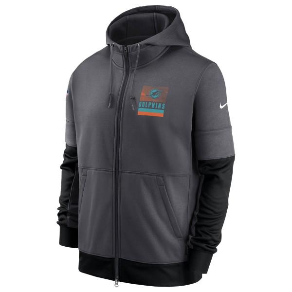 Miami Dolphins 2020 NFL Sideline Lockup Nike Therma Full-Zip Hoodie