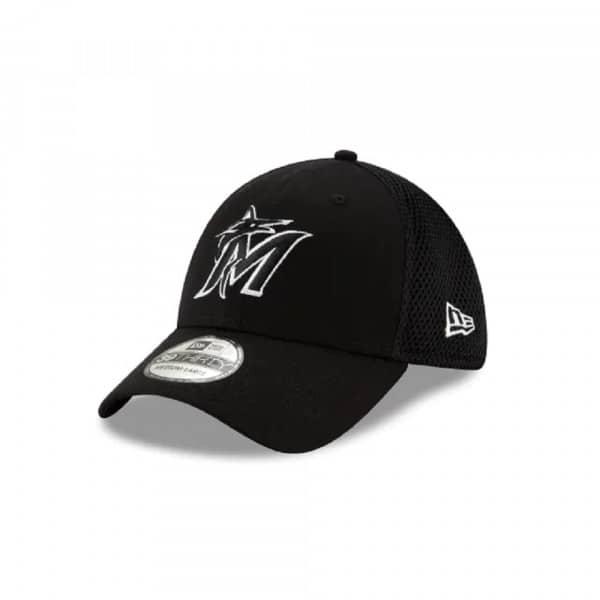 Miami Marlins Black & White Neo 39Thirty Stretch Fit MLB Cap