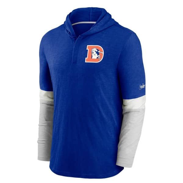 Denver Broncos 1993 NFL Historic Nike Long Sleeve Henley Hoodie