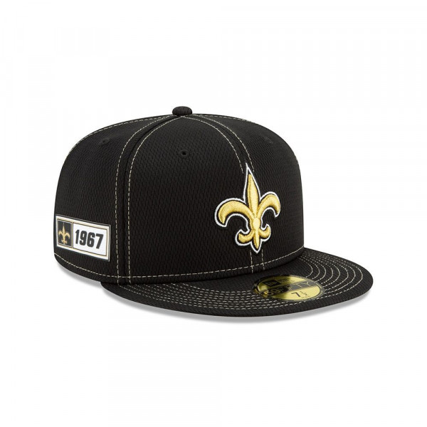 New Orleans Saints 2019 NFL On-Field Sideline 59FIFTY Fitted Cap Road