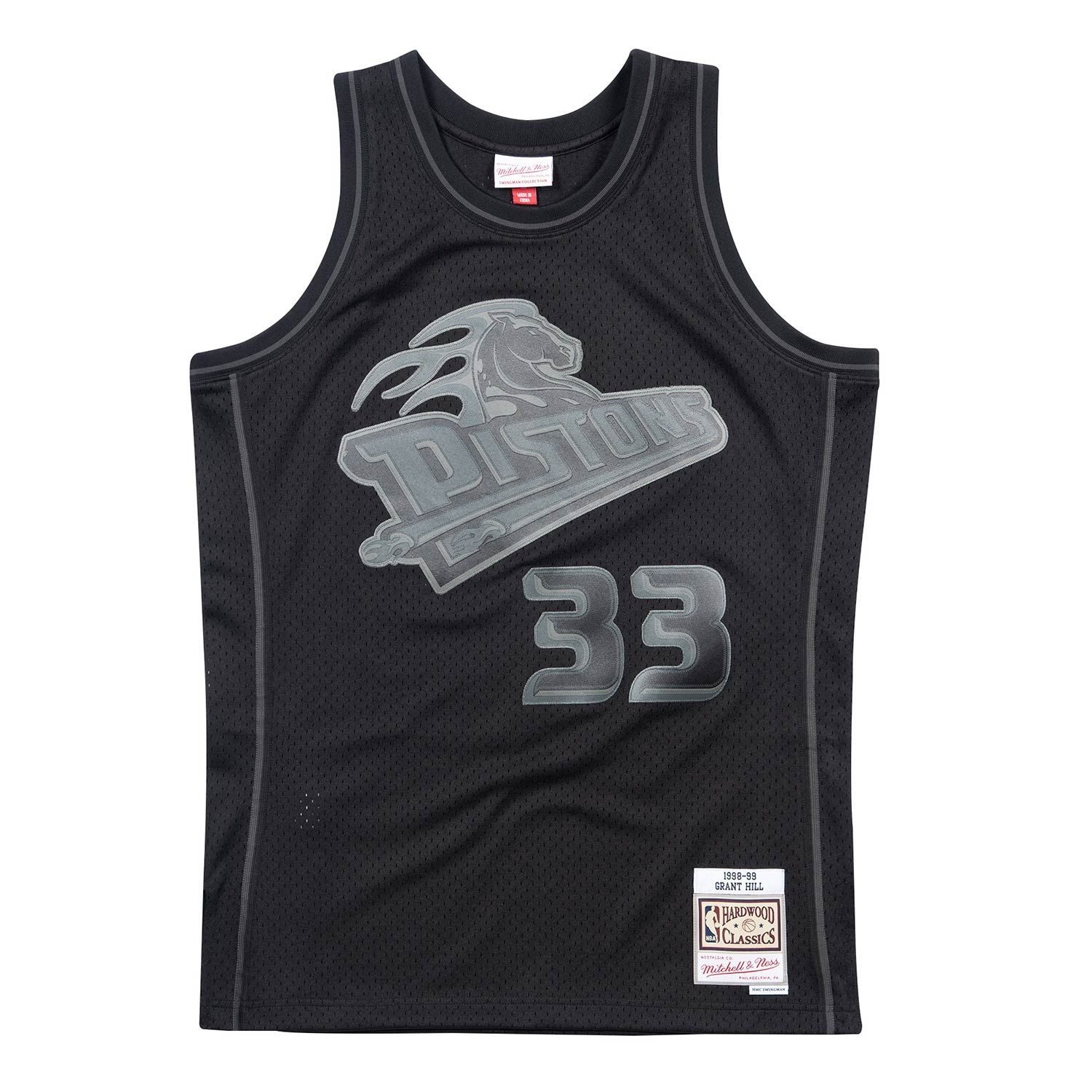 ec893a6c0 Mitchell   Ness Grant Hill  33 Detroit Pistons BACK TO BLACK Swingman NBA  Jersey